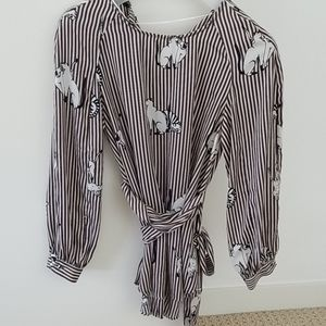 Zara Kitty Cat Long Blouse